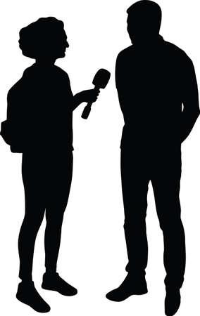 interview silhouette vector Çizim