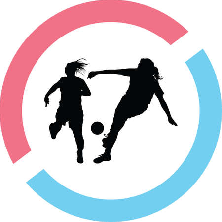 soccer women silhouette. girl play soccer vector
