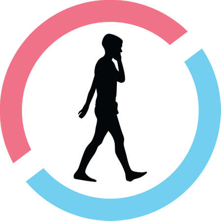 People silhouette on a red and blue circle Illustration