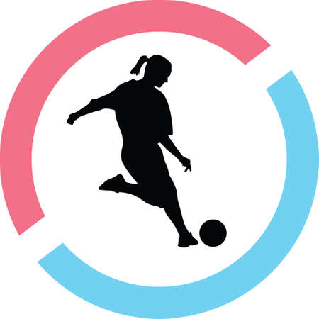 Woman play soccer silhouette on a red and blue circle