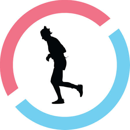 A runner silhouette on a running position vector