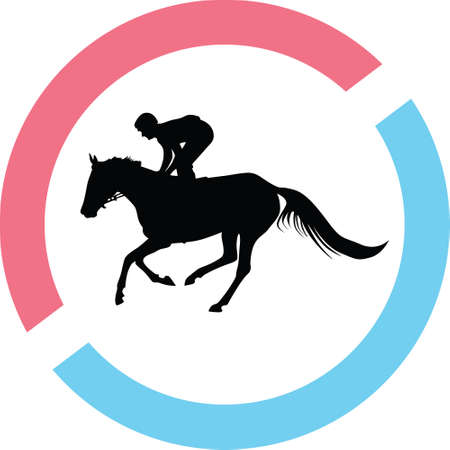 A jockey riding a horse in a circle on a silhouette presentation Illustration