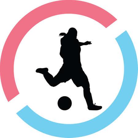 A soccer women silhouette. A girl play soccer vector