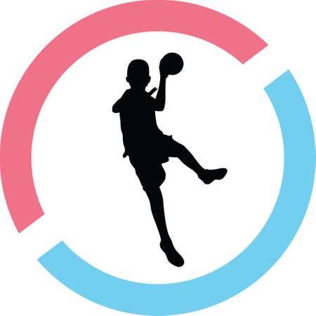 A handball in a circle on a silhouette presentation