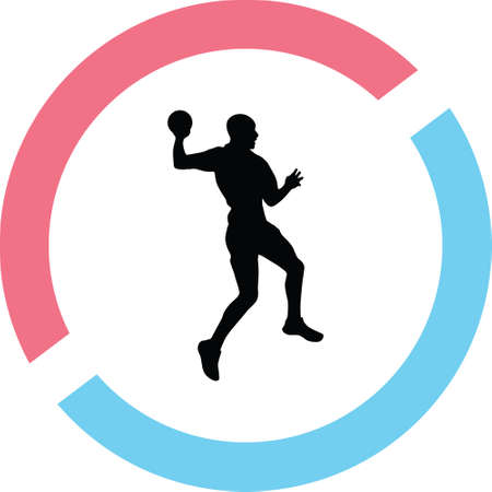 A handball in a circle on a silhouette presentation