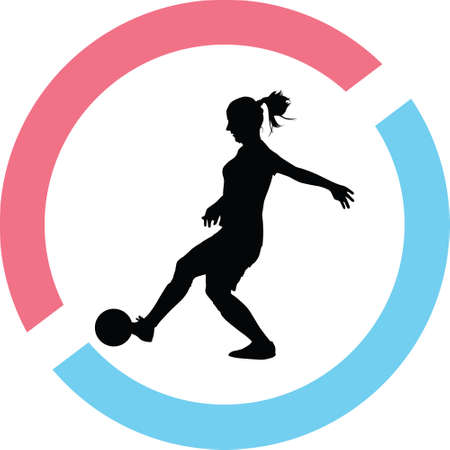 Girl playing  soccer silhouette in red and blue circle