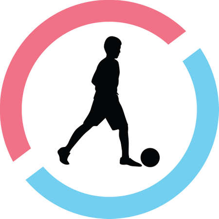 Kid play soccer silhouette in red and blue circle Illustration