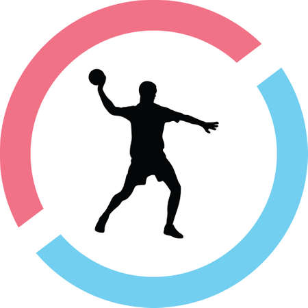Man with ball silhouette in red and blue circle Ilustração