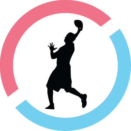 Football player silhouette in red and blue circle Illustration