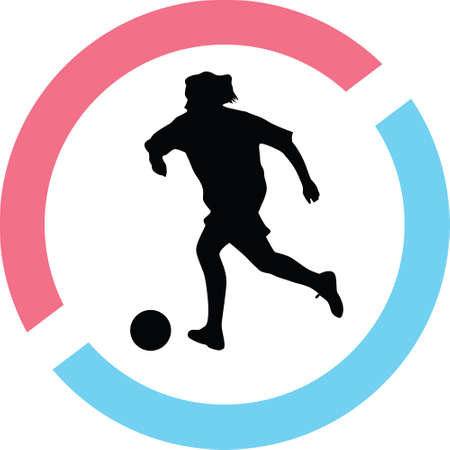 A woman play soccer in a circle on a silhouette presentation Illustration