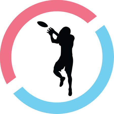 A football player in a circle on a silhouette presentation