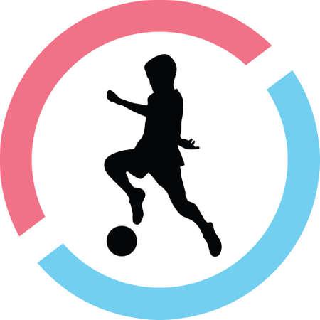 A kid play soccer in a circle on a silhouette presentation Ilustração