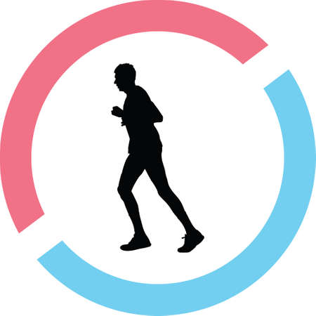 A runner in a circle on a silhouette presentation