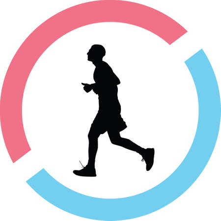 Runner silhouette in red and blue circle Illustration