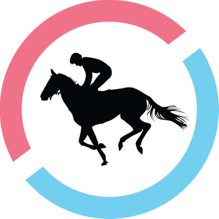 Jockey riding a horse silhouette in red and blue circle