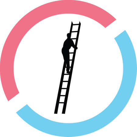 Man in ladder silhouette in red and blue circle