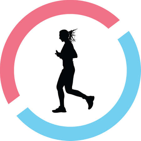 Woman runner silhouette in red and blue circle Illustration