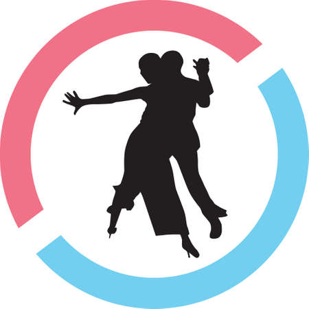 Dance people  silhouette in red and blue circle Illustration
