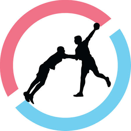 Man handball silhouette in red and blue circle