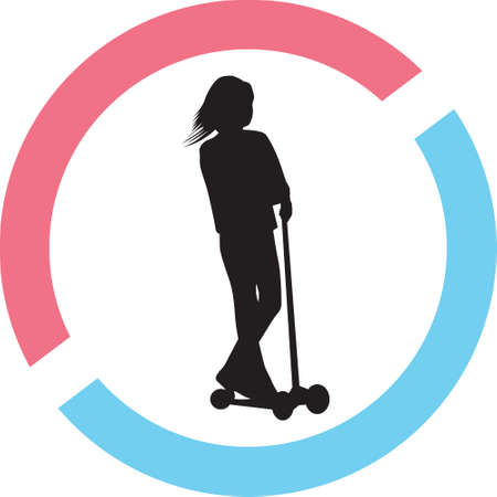 A girl drive scooter in a circle on a silhouette presentation