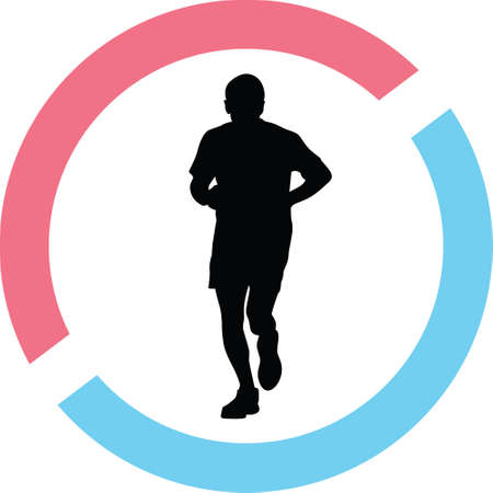 Man runner silhouette in red and blue circle