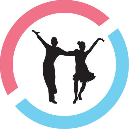 A dancing people in a circle on a silhouette presentation Illustration