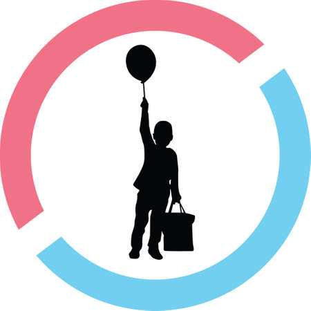 Kids with balloon silhouette in red and blue circle