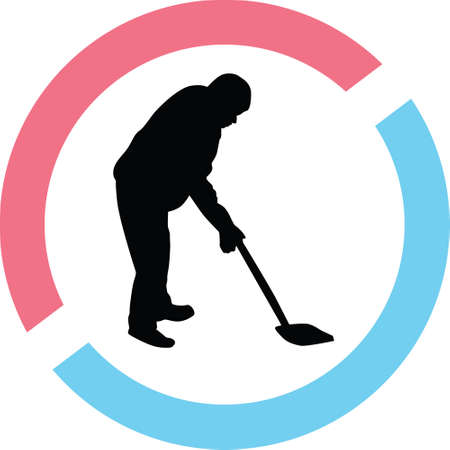 Man worker silhouette in red and blue circle Illustration