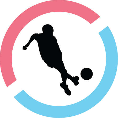 A kid play soccer in a circle on a silhouette presentation Illustration