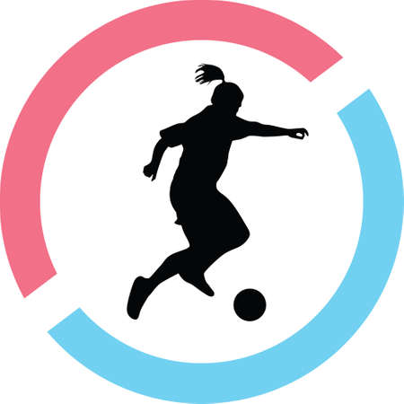 Woman play soccer silhouette in red and blue circle