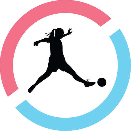 Woman playing  soccer silhouette in red and blue circle