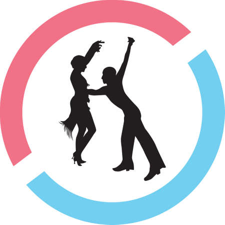 Dancing people silhouette vector Illustration