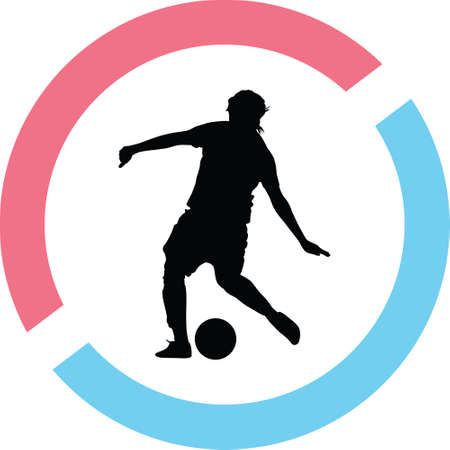 Woman playing soccer ball silhouette vector Illustration