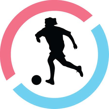 Woman play soccer Çizim
