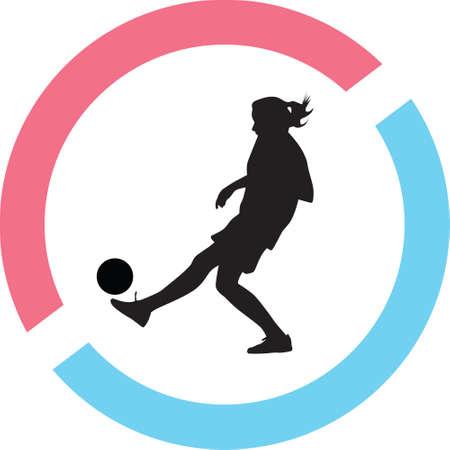 Woman play soccer Illustration