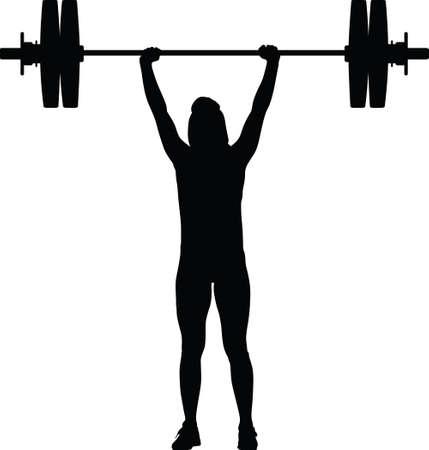 silueta de niña levantamiento de pesas Ilustración de vector