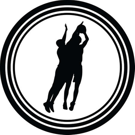 basketball players in action silhouette vector Stock Vector - 108066629