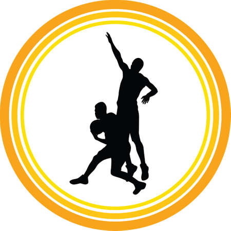 basketball players in action silhouette vector Stock Vector - 108760355