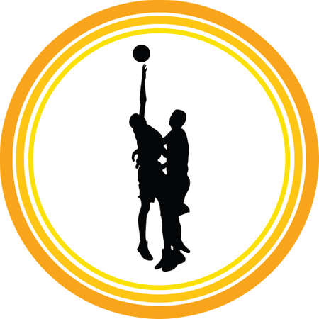 basketball players in action silhouette vector Stock Vector - 108826175