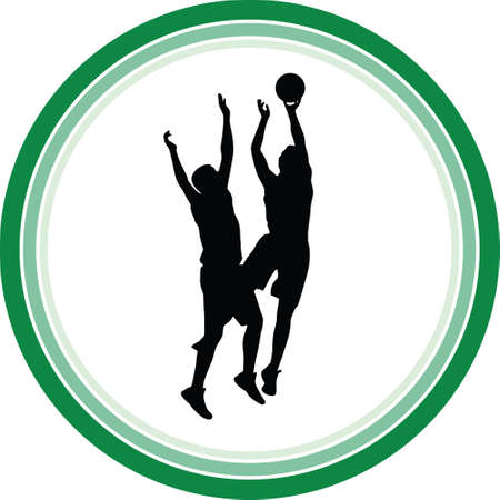 basketball players in action silhouette vector Stock Vector - 109564358