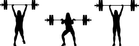 girl in three different poses weight lifting. girl raises weights silhouette vector