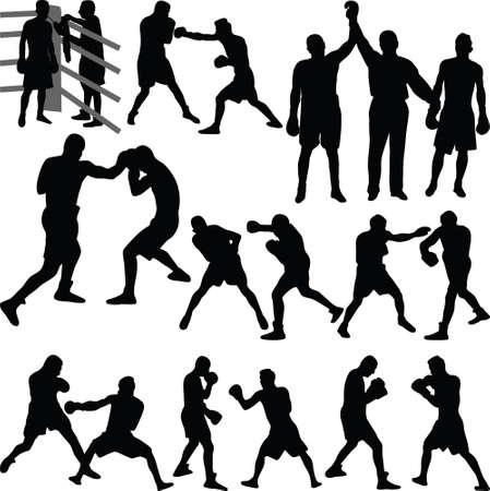 combate de boxeo, un boxeador en su esquina con un entrenador, el juez declara al ganador de un combate de boxeo