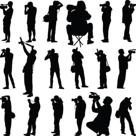 sixteen photographers in different posses silhouette vector