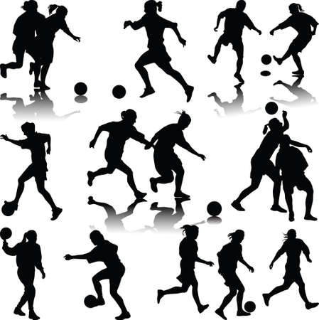 group of women soccer players and goalkeeper isolated silhouette vector