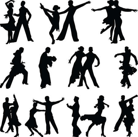 beautiful dance people in different poses silhouette vector Ilustracje wektorowe