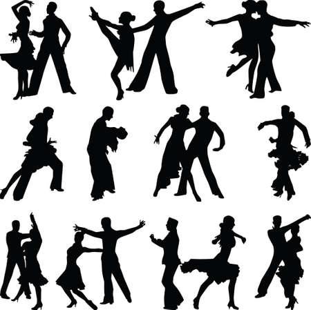 schöne Tanzleute in verschiedenen Posen-Silhouette-Vektor Vektorgrafik