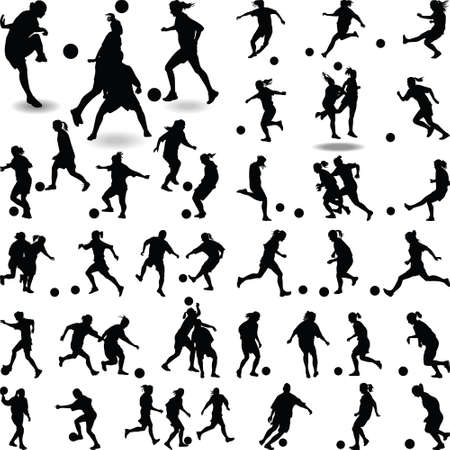 A big group of women soccer player isolated silhouette vector