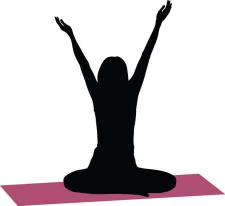 yoga exercise silhouette 向量圖像