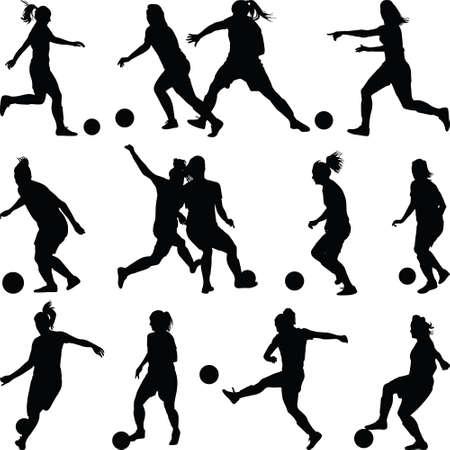 soccer women silhouette. girl player Vettoriali