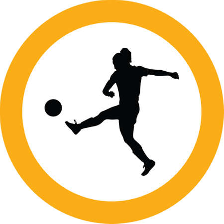 soccer women silhouette. girl player